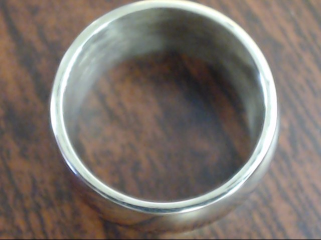 ESTATE THICK 9.9MM WIDE WEDDING RING BAND REAL 14K WHITE GOLD SZ 4.5