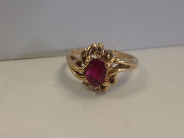 Ruby Lady's Stone & Diamond Ring 4 Diamonds .04 Carat T.W. 14K Yellow Gold 2.7g
