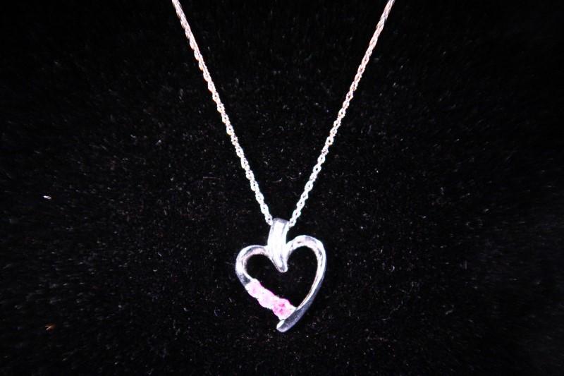 Pink Stone Diamond & Stone Necklace 3 Diamonds .03 Carat T.W. 10K White Gold