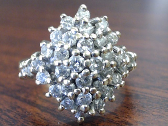 NATURAL DIAMOND 1.32 TCW CLUSTER RING REAL 10K GOLD 7.2g SIZE 8.75