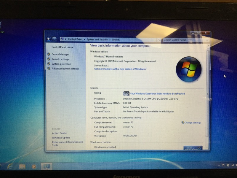 Lenovo IdeaPad Z570 2.30GHz Intel i5, 250GB HD, 8GB RAM, Windows 7