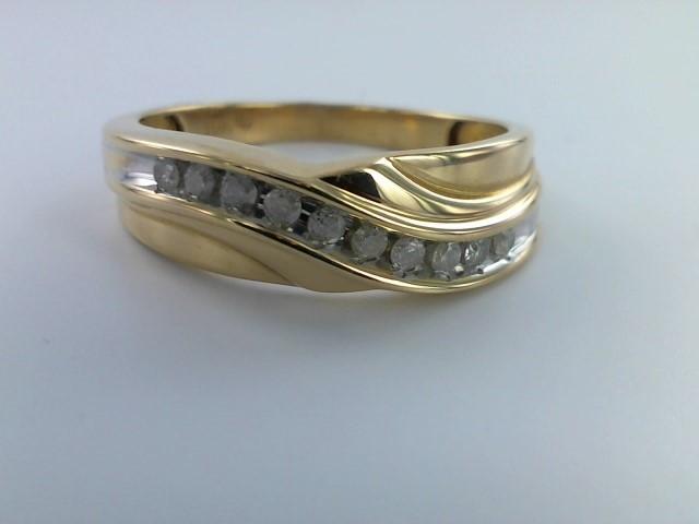 Gent's Gold-Diamond Wedding Band 12 Diamonds .84 Carat T.W. 10K Yellow Gold