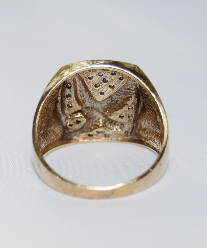 10K Yellow Gold Diamond Cut Flying Eagle Diamond Cluster Ring s. 11
