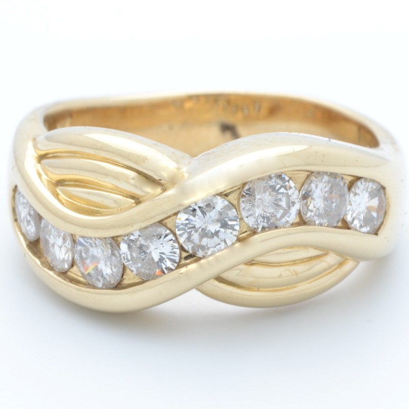 ESTATE DIAMOND RING BAND SOLID 14K GOLD INFINITY WAVE JOURNEY SZ 5.5