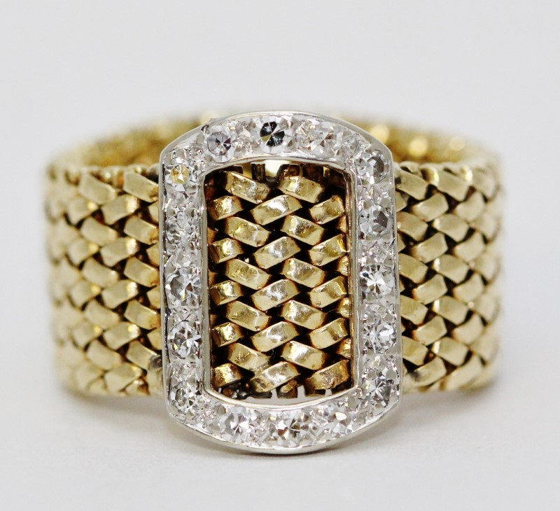 14K Two-Tone Yellow & White Gold Mesh Flexible Diamond Belt Buckle Ring sz 5