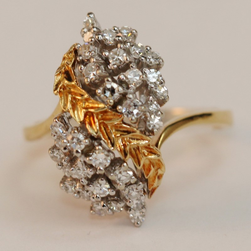 14K Yellow Gold Leaf Vine Diamond Cluster Ring Size 10.5 Fall