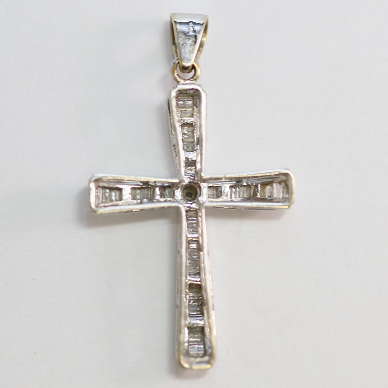 14K White Gold Multi Baguette & Round Diamond Centered Cross Pendant
