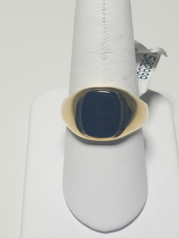 Black Stone Gent's Stone Ring 14K Yellow Gold 2.75dwt Size:9.5