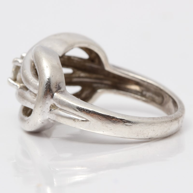 Square Knot Silver & Diamond Ring Size 5