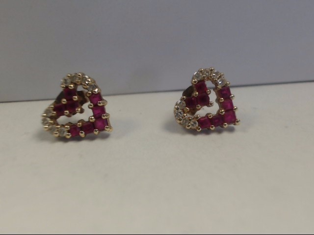 Ruby Gold-Diamond & Stone Earrings 16 Diamonds .32 Carat T.W. 14K Yellow Gold