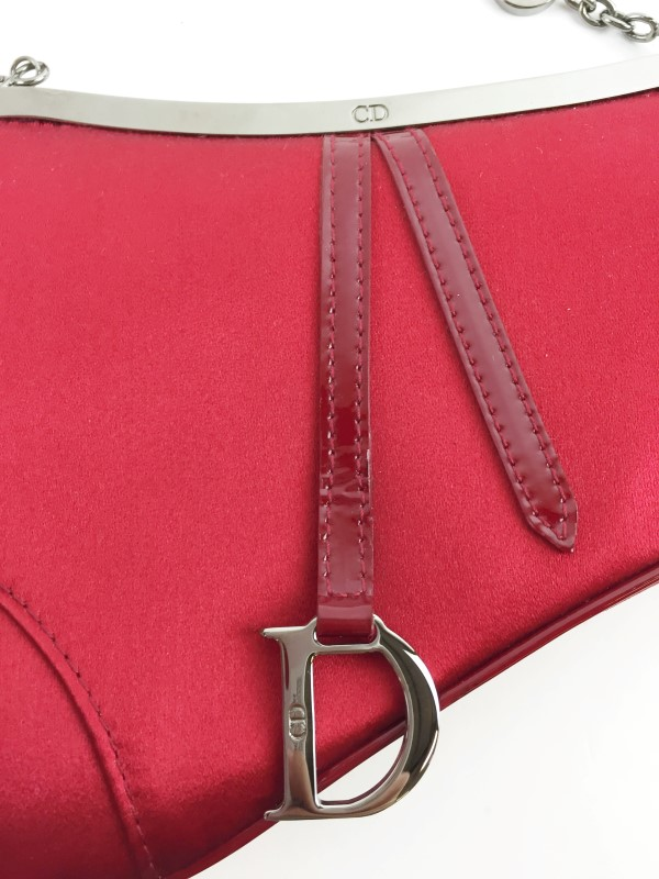 CHRISTIAN DIOR RED SATIN EVENING MINI SADDLE BAG HANDBAG