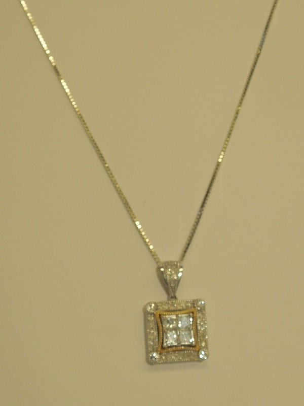 "20"" Diamond Necklace 40 Diamonds .71 Carat T.W. 14K White Gold 3.8g"