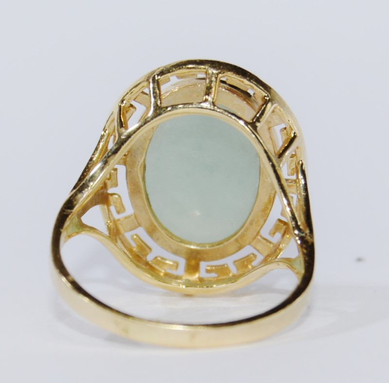 14K Yellow Gold Split Shank Cathedral Set Asian Inspired Oval Jade Cocktail Ring