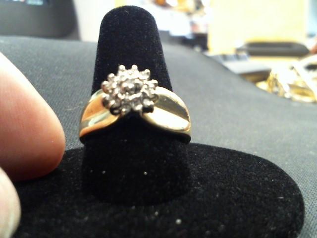 Lady's Diamond Cluster Ring 10 Diamonds .10 Carat T.W. 10K Yellow Gold 4.1g