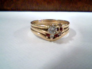 Synthetic Ruby Lady's Stone & Diamond Ring 4 Diamonds .21 Carat T.W.