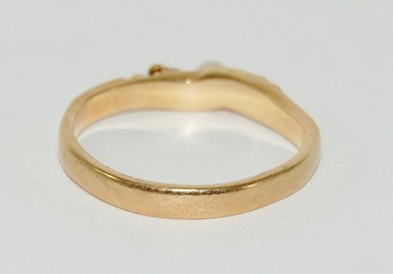 10K Multi-Tone Black Hills Gold Pearl Leaf Design Stacker Ring Band sz 6.5 Fall