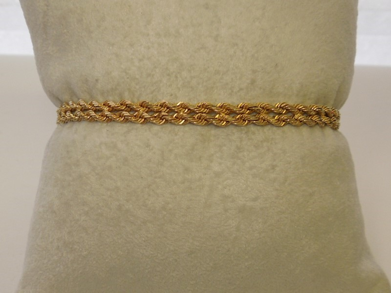 Gold Rope Bracelet 14K Yellow Gold 7g