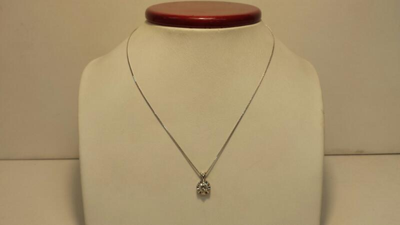 """14k White Gold Box Necklace with Diamond Pendant at .47ctw - 1.3dwt - Lenght 18"""""""