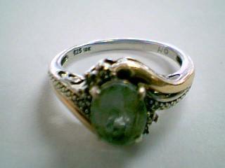 Teal Stone Lady's Silver-Diamond & Stone Ring 4 Diamonds .04 Carat T.W.
