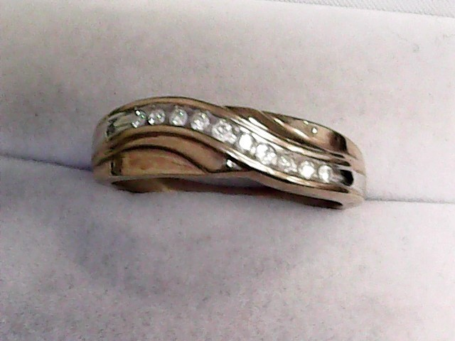 Gent's Gold-Diamond Wedding Band 10 Diamonds .30 Carat T.W. 10K Yellow Gold
