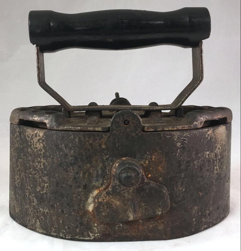 Antique 1910s Sad Iron - Coal Cast Iron w/ Damper