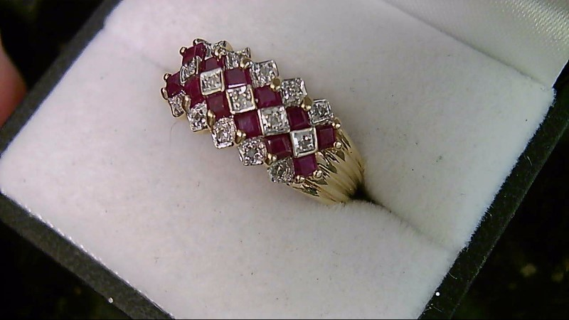 July Birthstone Genuine Ruby Lady's Stone & Diamond Cluster Ring