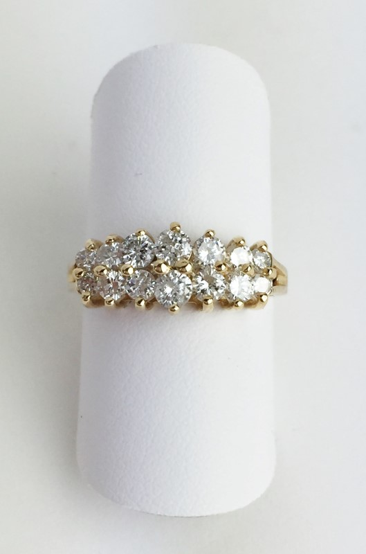 Lady's Diamond Double Row Cathedral Ring .96 Carat T.W. 14K Yellow Gold 3.8g