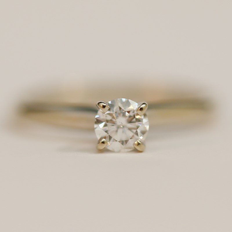 14K White Gold Round Brilliant Cut Diamond Solitaire Ring Size 6.75