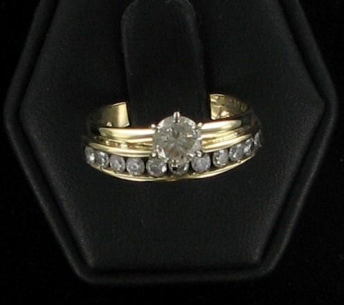 Lady's Diamond Wedding Set 12 Diamonds 1.24 Carat T.W. 14K Yellow Gold 2.7dwt