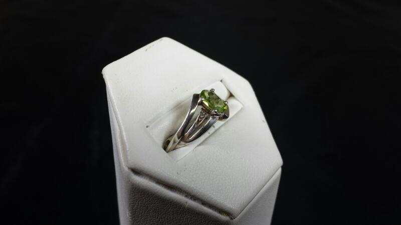 Synthetic Yellow Sapphire Lady's Silver & Stone Ring 925 Silver 2.29g Size:7.5