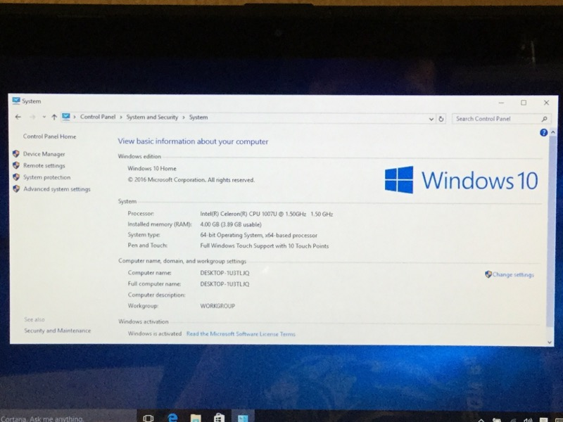 ASUS X200CA WIN 10, 320GB HD, 4GB RAM, CELERON 1007U @ 1.50GHz