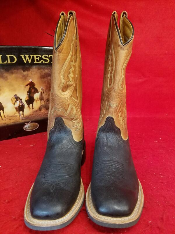OLD WEST Boys BSY1810 Square Toe Leather Western Cowboy Boots