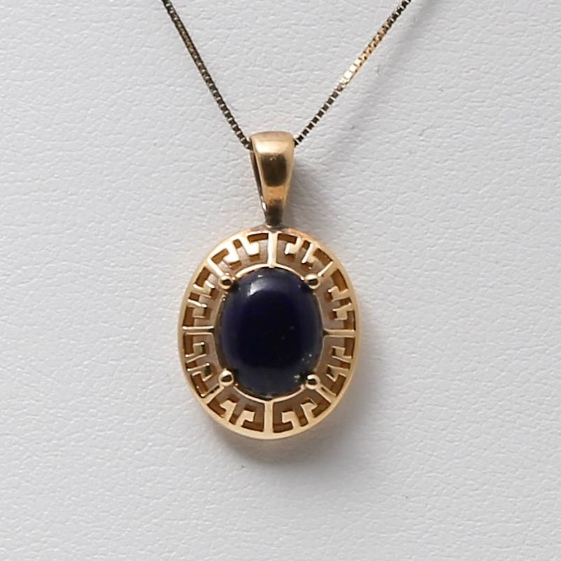 "18"" 14K Yellow Gold Aztec Inspired Lapis Stone Charm Necklace"