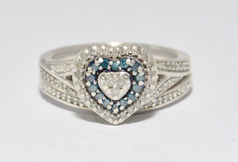 Sterling Silver Heart Shaped Blue & Black Diamond Cluster Engagement Wedding Set