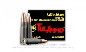 TULA ARMS Ammunition 7.62 X39 FMJ BOX 180