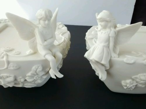 PARTYLITE Glass/Pottery 2 FAIRY CANDLE HOLDERS