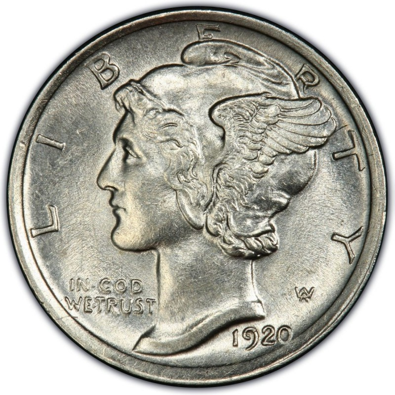 UNITED STATES Silver Coin 1920 MERCURY DIME