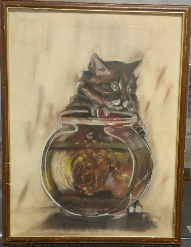 LTOSCAN Painting CAT WITH FISHBOWL PAINTING