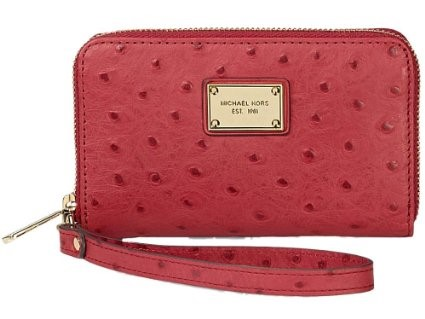 MICHAEL KORS RED OSTRICH ZIP WRISTLET
