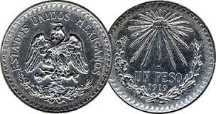 MEXICO Silver Coin UN PESO 1915-1945