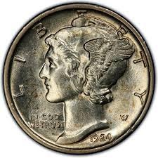 UNITED STATES Silver Coin 1924 MERCURY DIME