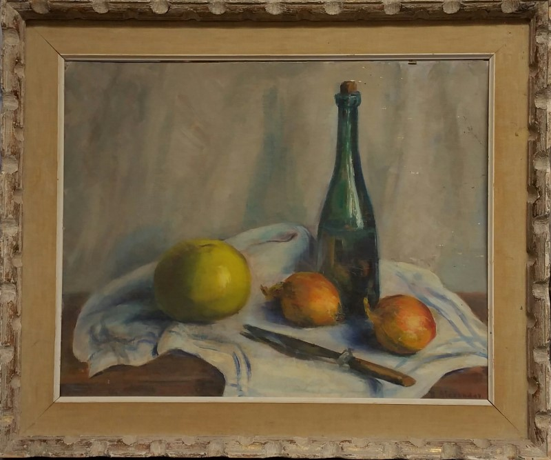 BEATRICE ALEXANDER Painting PAINTING FRUIT AND WINE BOTTLE