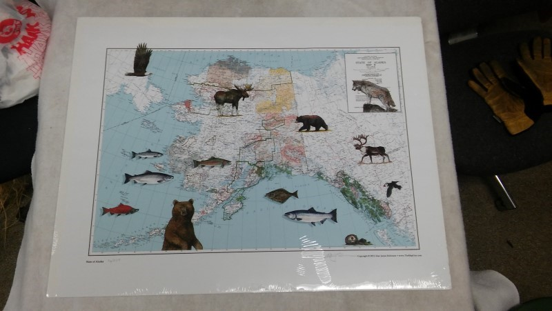 STATE OF ALASKA MAP Print ALAN JAMES ROBINSON 25X32