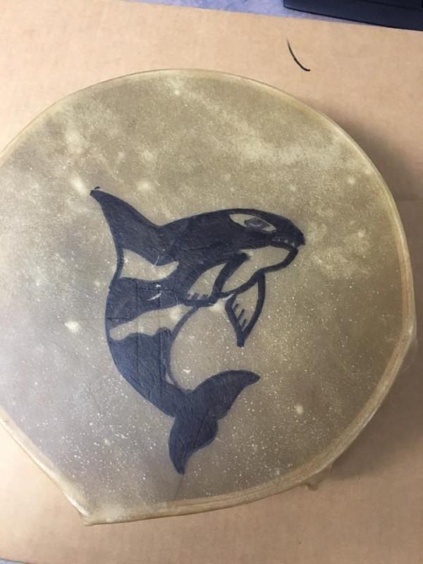 NATIVE ALASKA Painting DRUM RAWHIDE