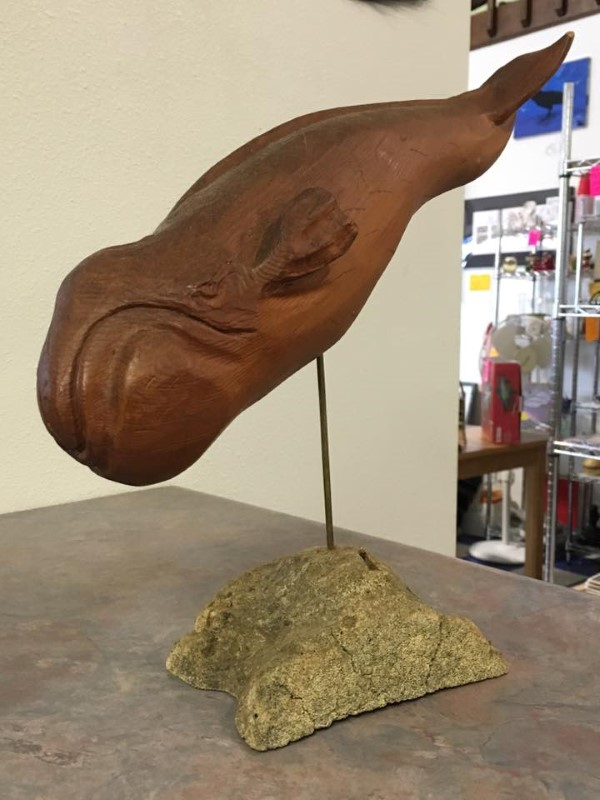 NATIVE ALASKA Sculpture/Carving BOWHEAD WHALE BY BART