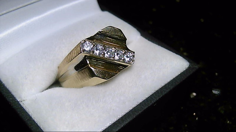 Gent's Diamond Fashion Ring 5 Diamonds .50 Carat T.W. 14K Yellow Gold 8.5g