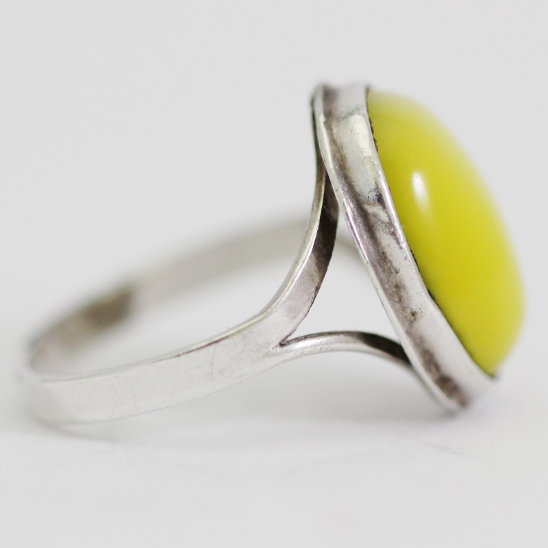 Sterling Silver Oval Cut Gradient Cabochon Cat's Eye Ring Size 5.75