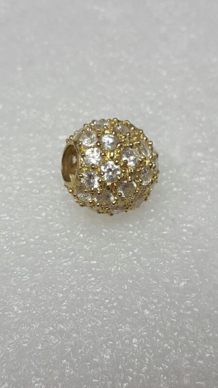 14K Yellow Gold CZ Encrusted Gold Ball Bead Slide Pendant