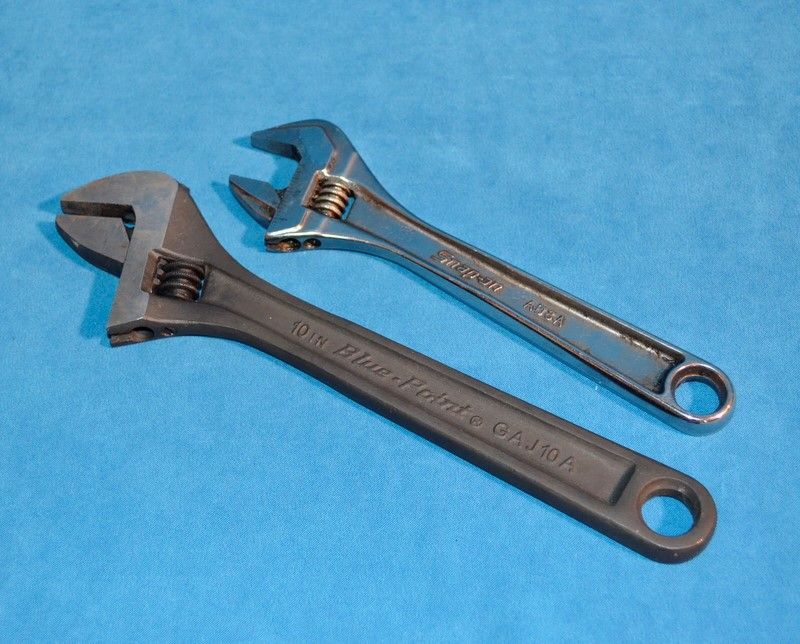 """Snap-On AD8A 8"""" & Blue-Point  GAJ10A 10"""" Adjustable Wrenches"""