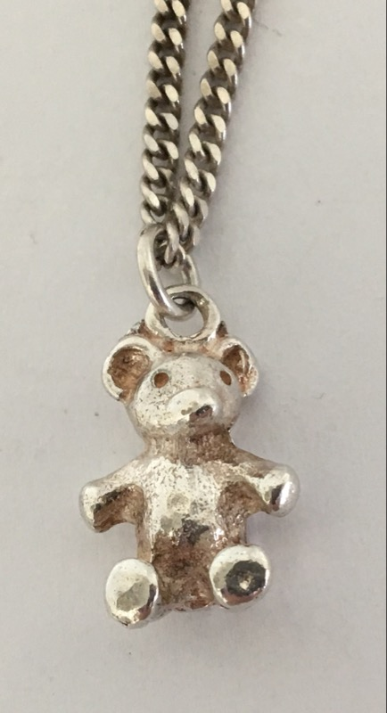"18"" .925 SILVER CHAIN W/TEDDY BEAR PENDANT"